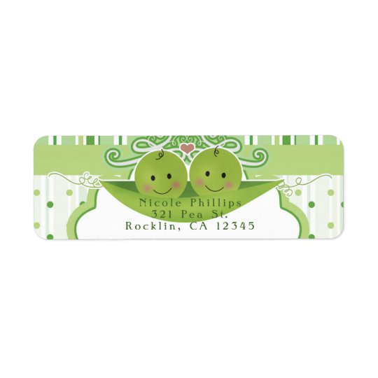 Two Peas in a Pod Twins Baby Shower Invitation Return Address Label