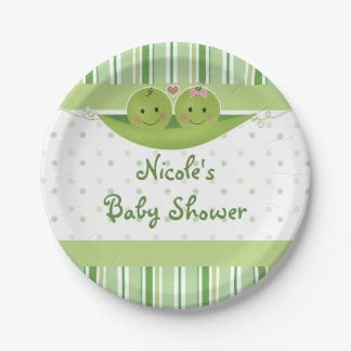 Two Peas in a Pod Twins Baby Shower Party Custom 7 Inch Paper Plate