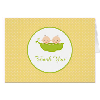 Two Peas in a Pod, Twins Thank You Note Card