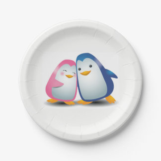 Two Penguins 7 Inch Paper Plate