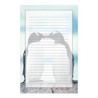 Two Penguins touching beaks Customized Stationery