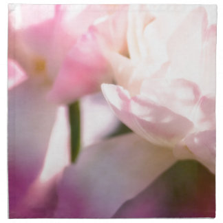 Two Peony Flowering Tulips with Petals Touching Napkin