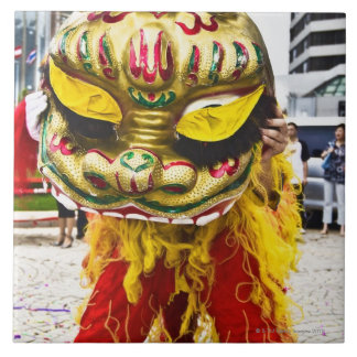 Two people in Chinese dragon costume, Qingdao, Tile