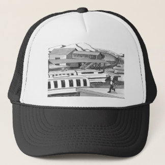 Two People trying to Catch Trains Trucker Hat