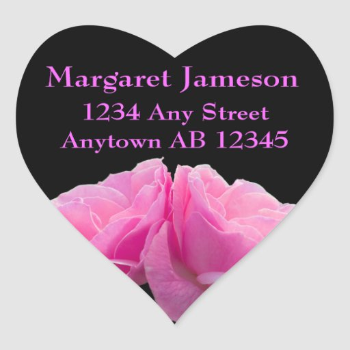 Two Perfectly Pink Roses Wedding Return Address Heart Stickers