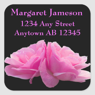Two Perfectly Pink Roses Wedding Return Address Stickers