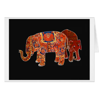 """Two Persian Elephants"" Card"