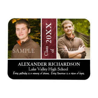 Two Photo Red Leather Look Graduation Magnet