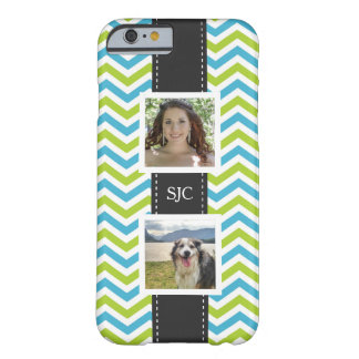 Two Photos and Initials Blue Lime Chevron Barely There iPhone 6 Case