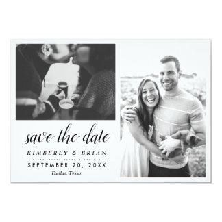 Two Photos Modern Save The Date Black Stripes Card