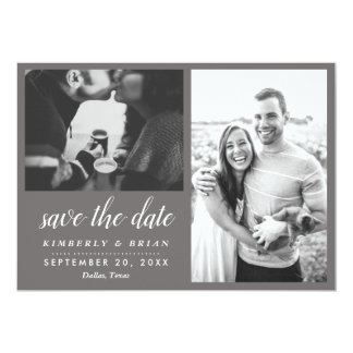 Two Photos Modern Save The Date Script Card