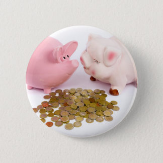 Two piggy banks with euro coins on white 6 cm round badge