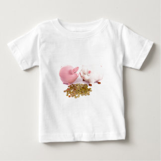 Two piggy banks with euro coins on white baby T-Shirt