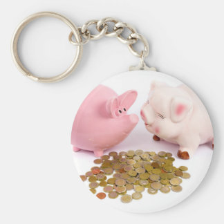 Two piggy banks with euro coins on white basic round button key ring
