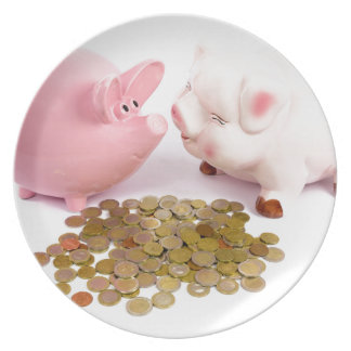 Two piggy banks with euro coins on white plate