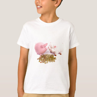Two piggy banks with euro coins on white T-Shirt