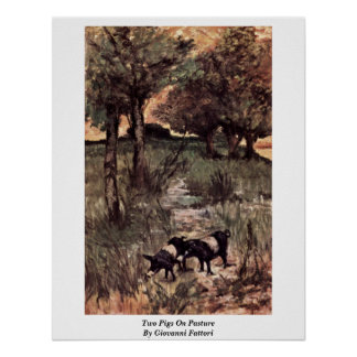 Two Pigs On Pasture By Giovanni Fattori Posters