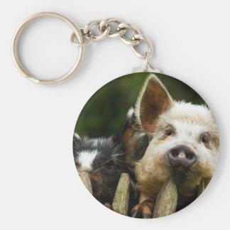 Two pigs - pig farm - pork farms key ring