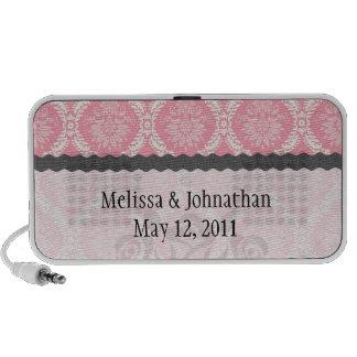 two pink and cream elegant damask wedding keepsake portable speaker
