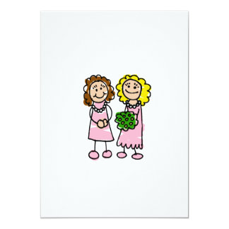 "Two Pink Brides 5"" X 7"" Invitation Card"
