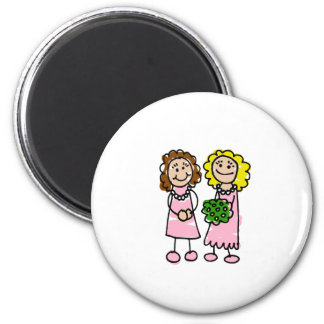 Two Pink Brides Refrigerator Magnet
