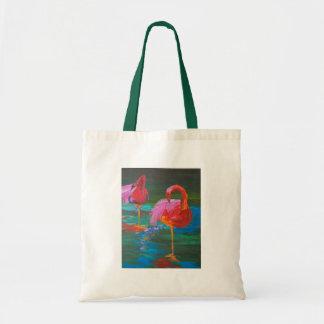 Two Pink Flamingos on Green Lake (K.Turnbull Art) Budget Tote Bag