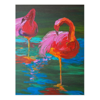 Two Pink Flamingos on Green Lake (K.Turnbull Art) Postcard