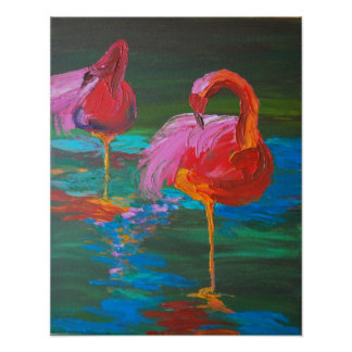 Two Pink Flamingos on Green Lake (K.Turnbull Art) Poster