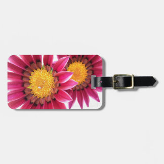 two pink flowers luggage tag