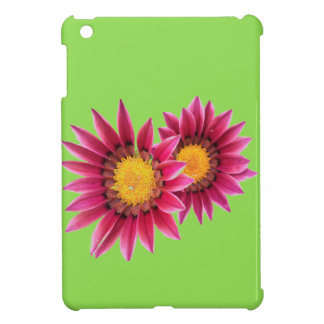 two pink flowers on green i-pad mini case iPad mini cases