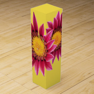 two pink flowers wine box