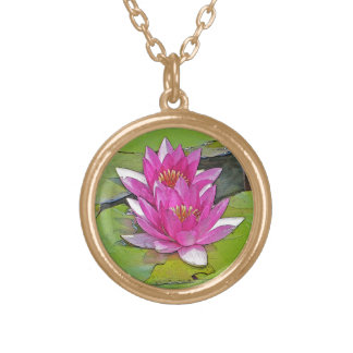 TWO PINK LOTUS BLOSSOMS ON LILY PADS GOLD PLATED NECKLACE