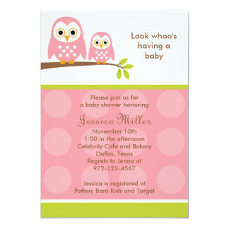 Two Pink Owls Baby Shower Invitations