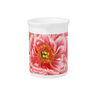 Two Pink Peonies Pitcher