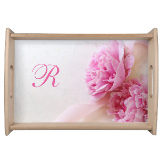 Two pink peonies serving tray