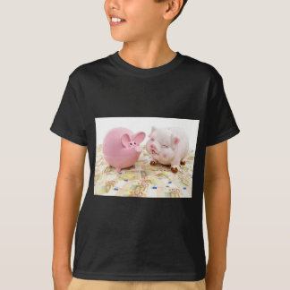 Two pink piggy banks on spread euro notes T-Shirt