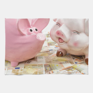 Two pink piggy banks on spread euro notes towels