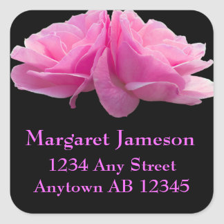 Two Pink Roses Wedding Return Address Label Square Sticker
