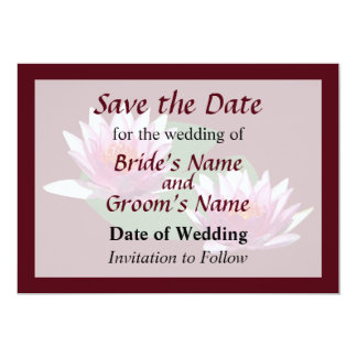 Two Pink Water Lilies Save the Date Personalized Invitation