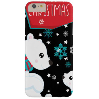 Two Polar Bears Merry Christmas Barely There iPhone 6 Plus Case