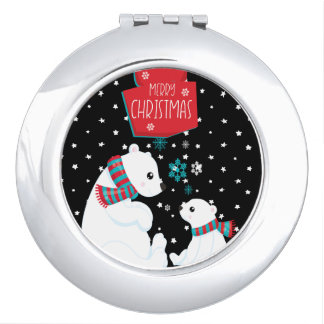 Two Polar Bears Merry Christmas Compact Mirror