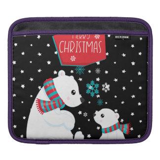 Two Polar Bears Merry Christmas iPad Sleeve