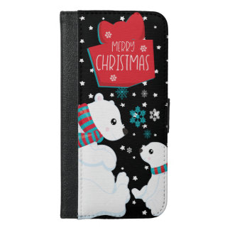 Two Polar Bears Merry Christmas iPhone 6/6s Plus Wallet Case