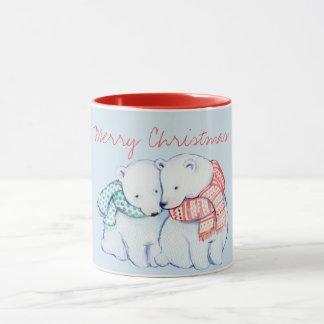 Two Polar Bears Merry Christmas Mug