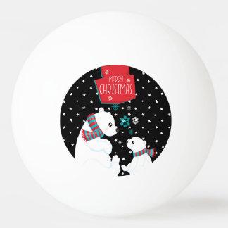 Two Polar Bears Merry Christmas Ping Pong Ball