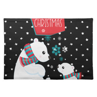 Two Polar Bears Merry Christmas Placemat