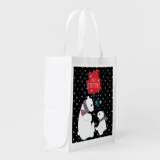 Two Polar Bears Merry Christmas Reusable Grocery Bag