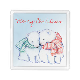 Two Polar Bears Merry Christmas Serving Tray