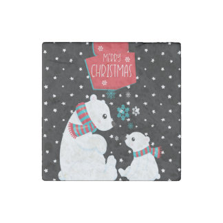 Two Polar Bears Merry Christmas Stone Magnet
