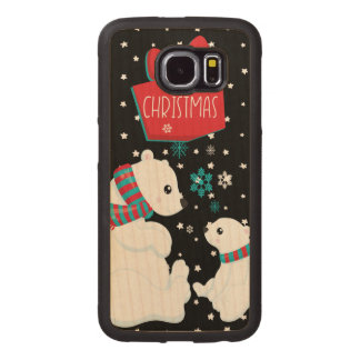 Two Polar Bears Merry Christmas Wood Phone Case